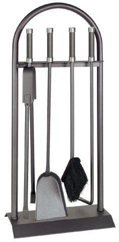 Kaminbesteck / Kamingarnitur Lienbacher anthr. Chrom 4tlg Rundb. 74cm