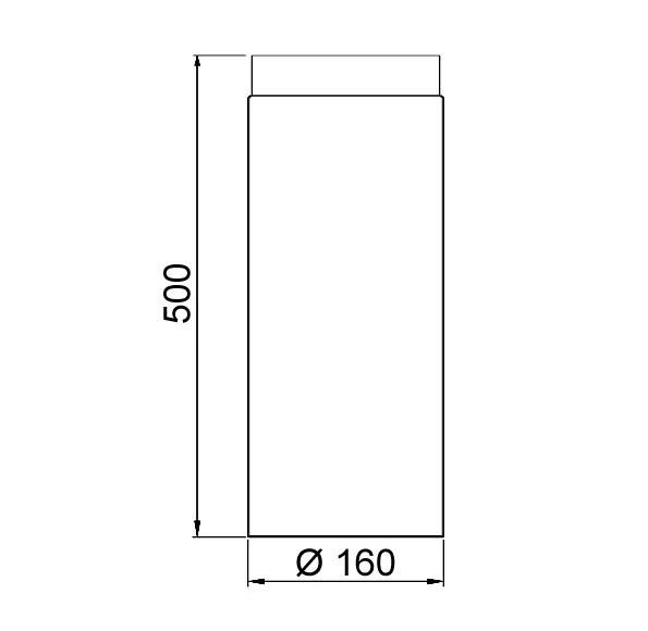 Ofenrohr / Rauchrohr Senotherm schwarz Ø160mm Länge 500 mm