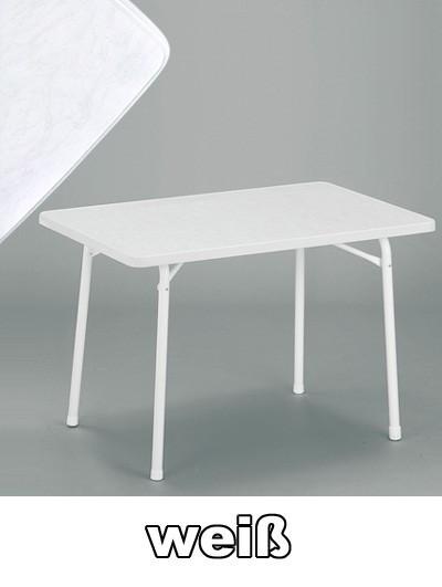 SIEGER Gartentisch klappbar 115 x 70 cm weiß Stahl